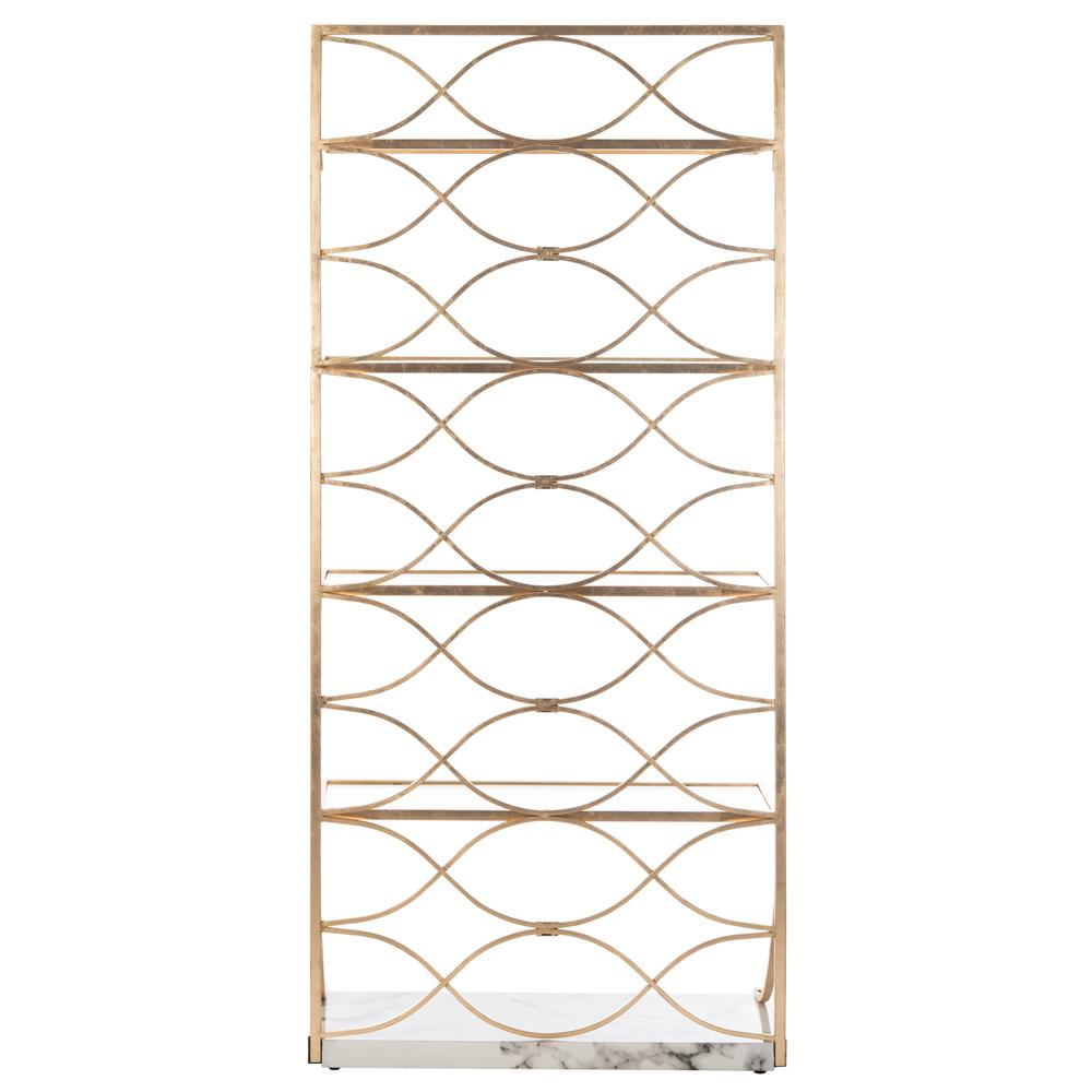 Spano 4 Glass Tier Marble Base Etagere, Gold/White/Clear. Picture 2