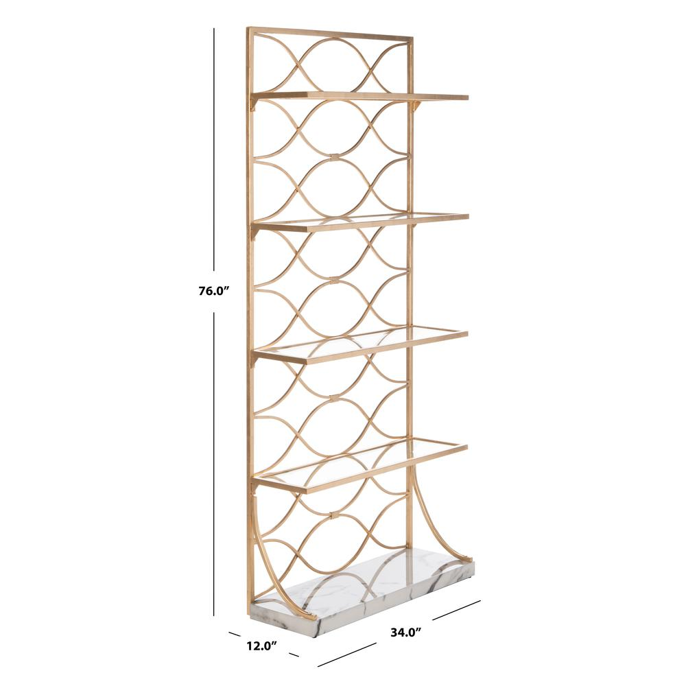 Spano 4 Glass Tier Marble Base Etagere, Gold/White/Clear. Picture 6