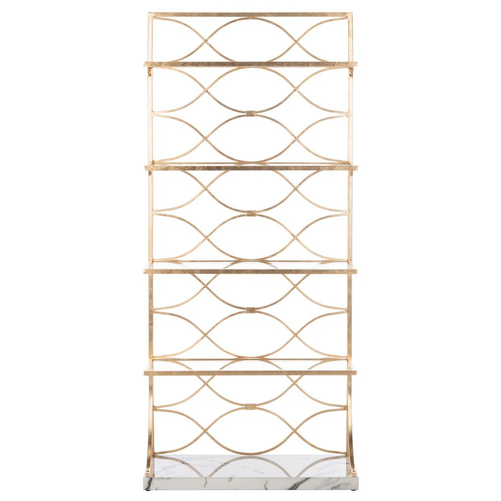 Spano 4 Glass Tier Marble Base Etagere, Gold/White/Clear. Picture 1