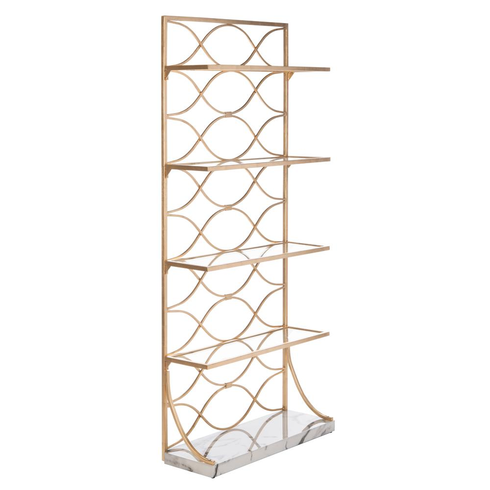 Spano 4 Glass Tier Marble Base Etagere, Gold/White/Clear. Picture 9