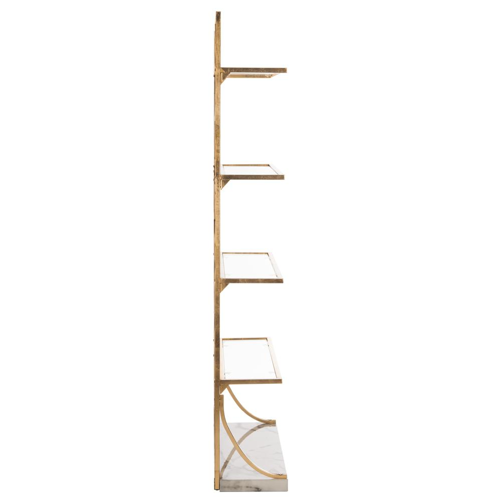 Spano 4 Glass Tier Marble Base Etagere, Gold/White/Clear. Picture 10