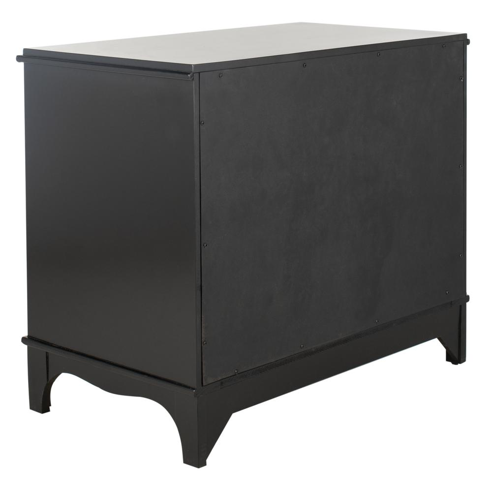 Hannon 3 Drawer Contemporary Nightstand, Black. Picture 3