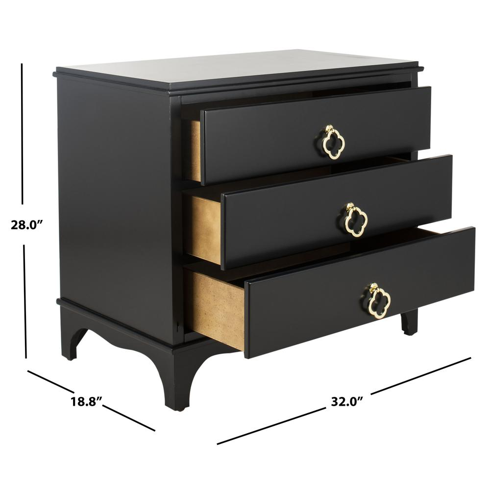 Hannon 3 Drawer Contemporary Nightstand, Black. Picture 7