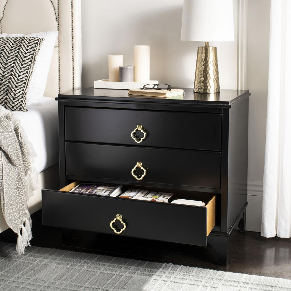 Hannon 3 Drawer Contemporary Nightstand, Black. Picture 10