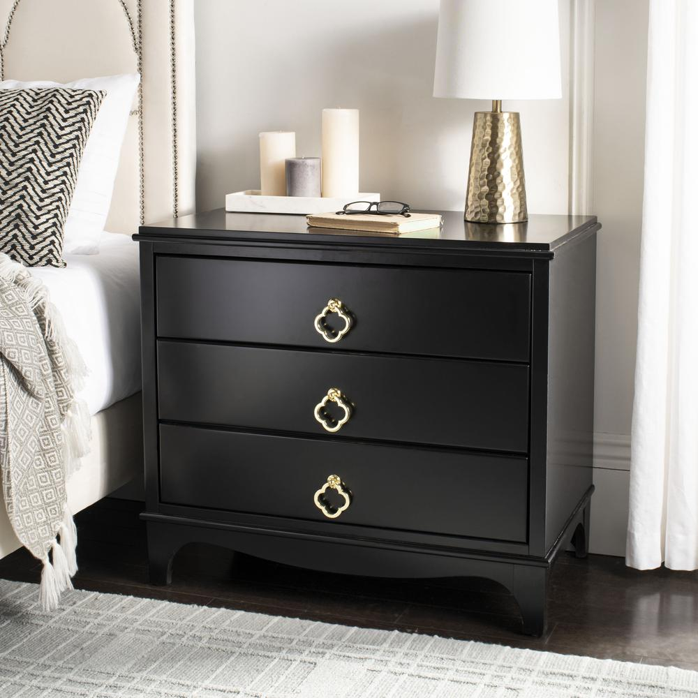 Hannon 3 Drawer Contemporary Nightstand, Black. Picture 12