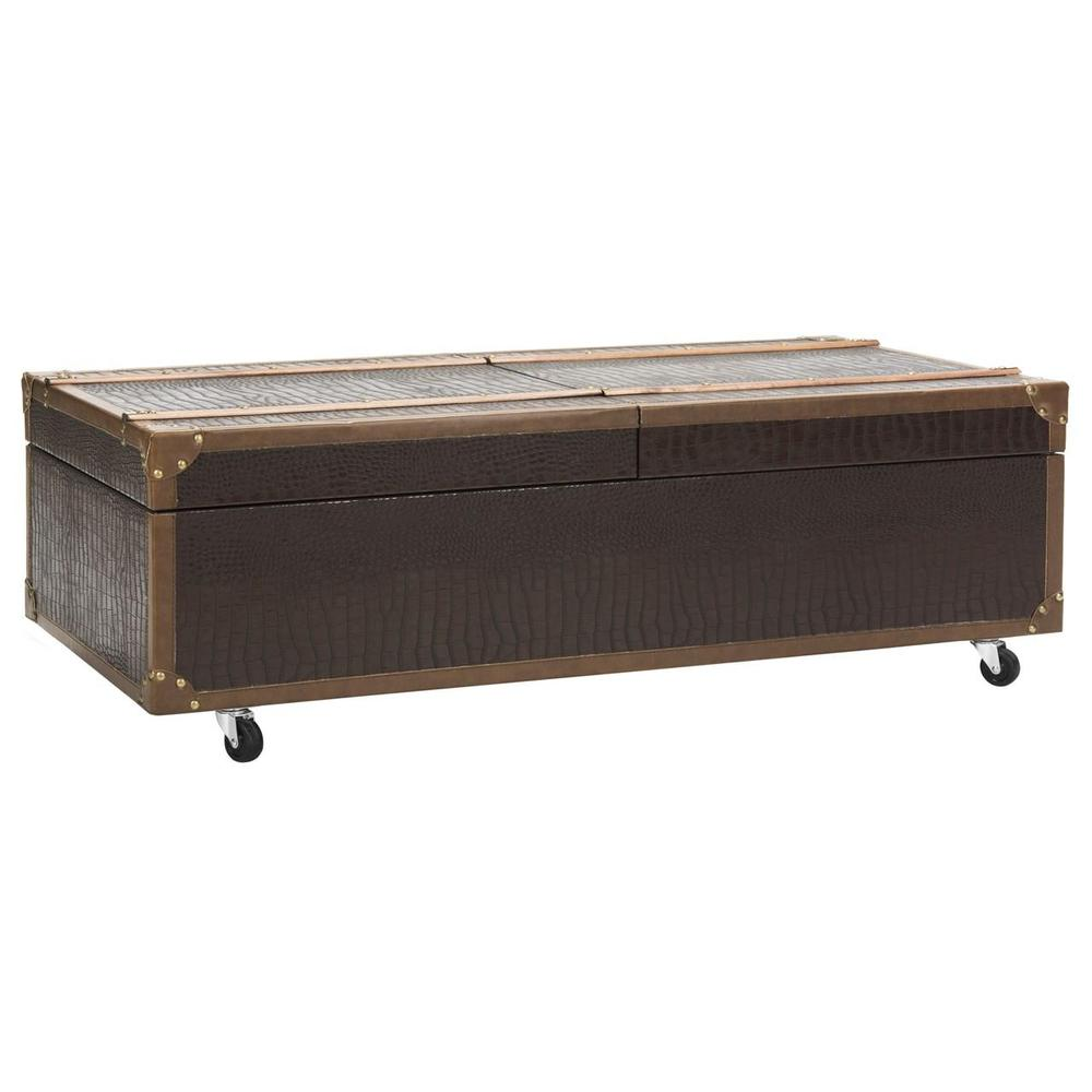 ZOE COFFEE TABLE STORAGE TRUNK WITH WINE RACK, FOX9515A. Picture 1