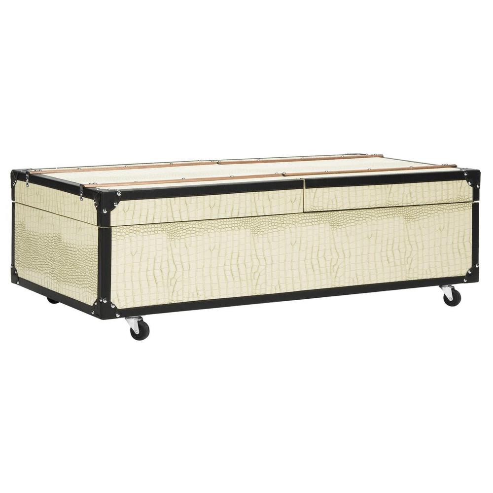 ZOE COFFEE TABLE STORAGE TRUNK WITH WINE RACK, FOX9515B. Picture 1