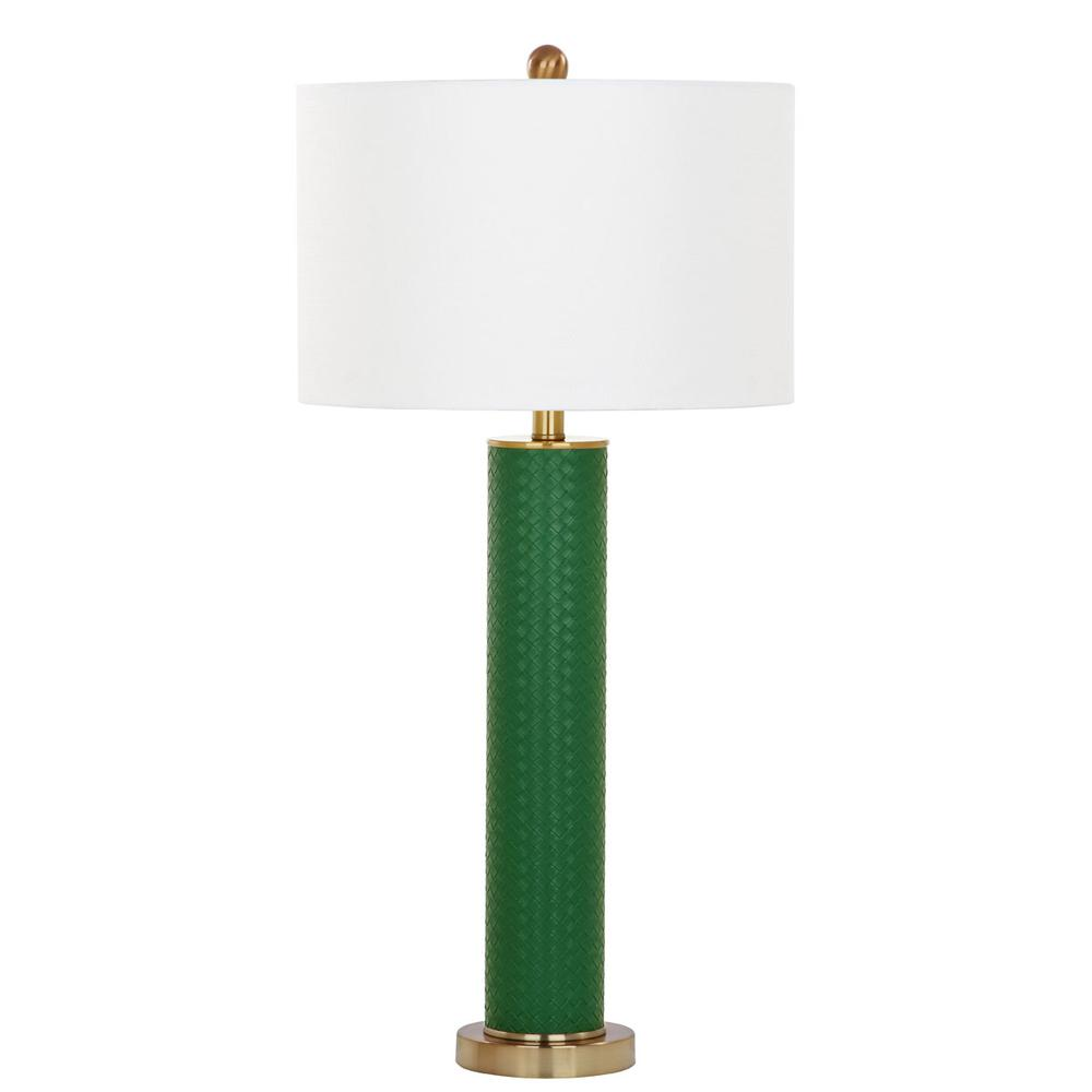 OLLIE 31.5-INCH H FAUX WOVEN LEATHER TABLE LAMP, LIT4404K-SET2. Picture 1