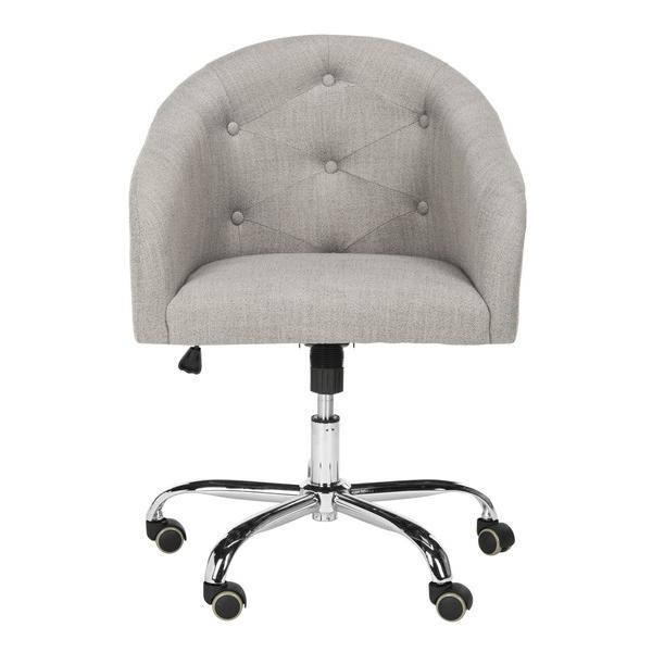AMY TUFTED LINEN CHROME LEG SWIVEL OFFICE CHAIR. Picture 1