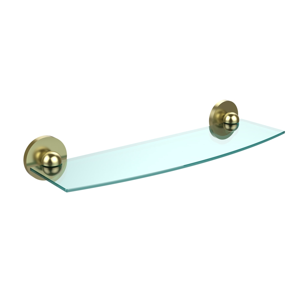1033/18-SBR Skyline Collection 18 Inch Glass Shelf, Satin Brass