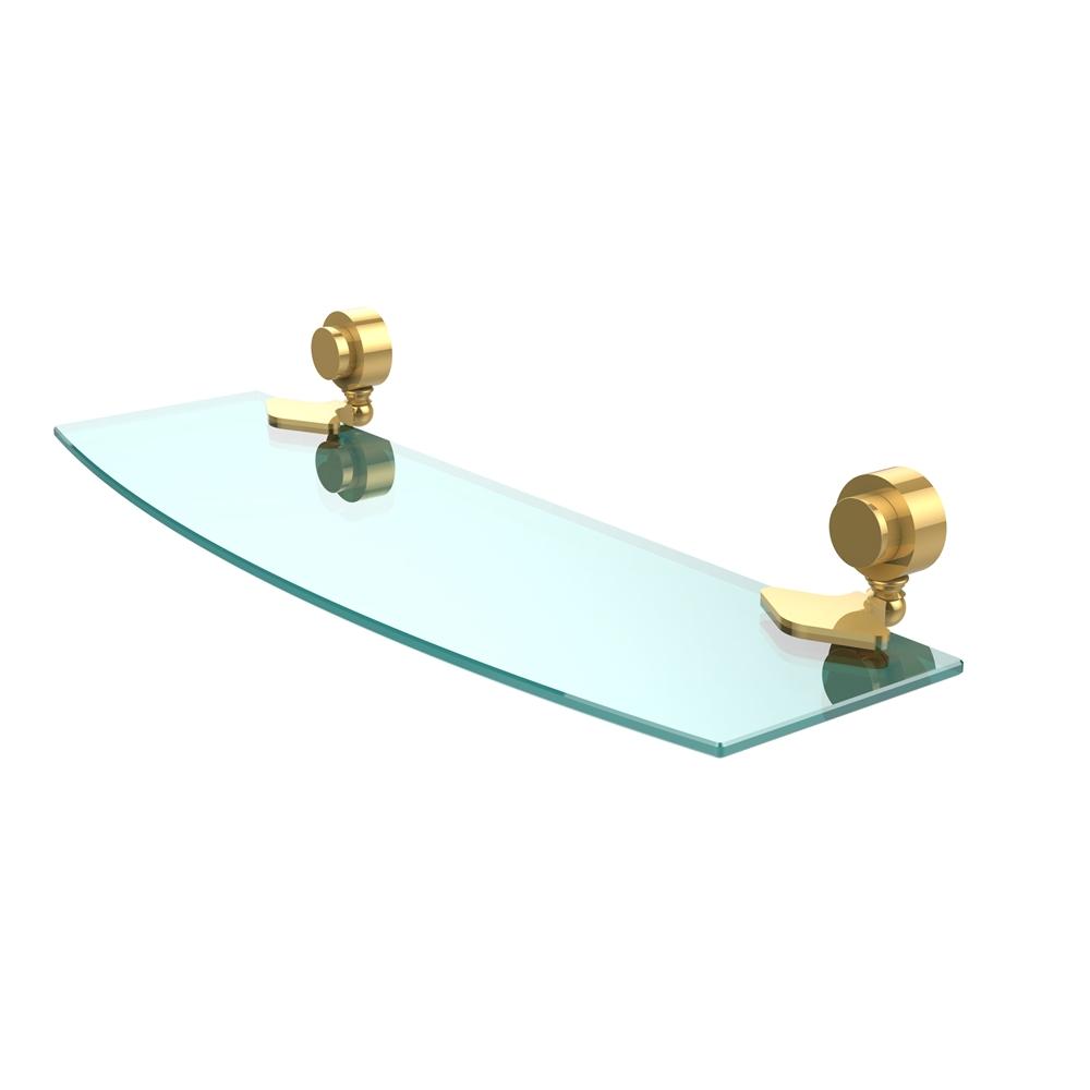 433/18-UNL Venus Collection 18 Inch Glass Shelf, Unlacquered Brass