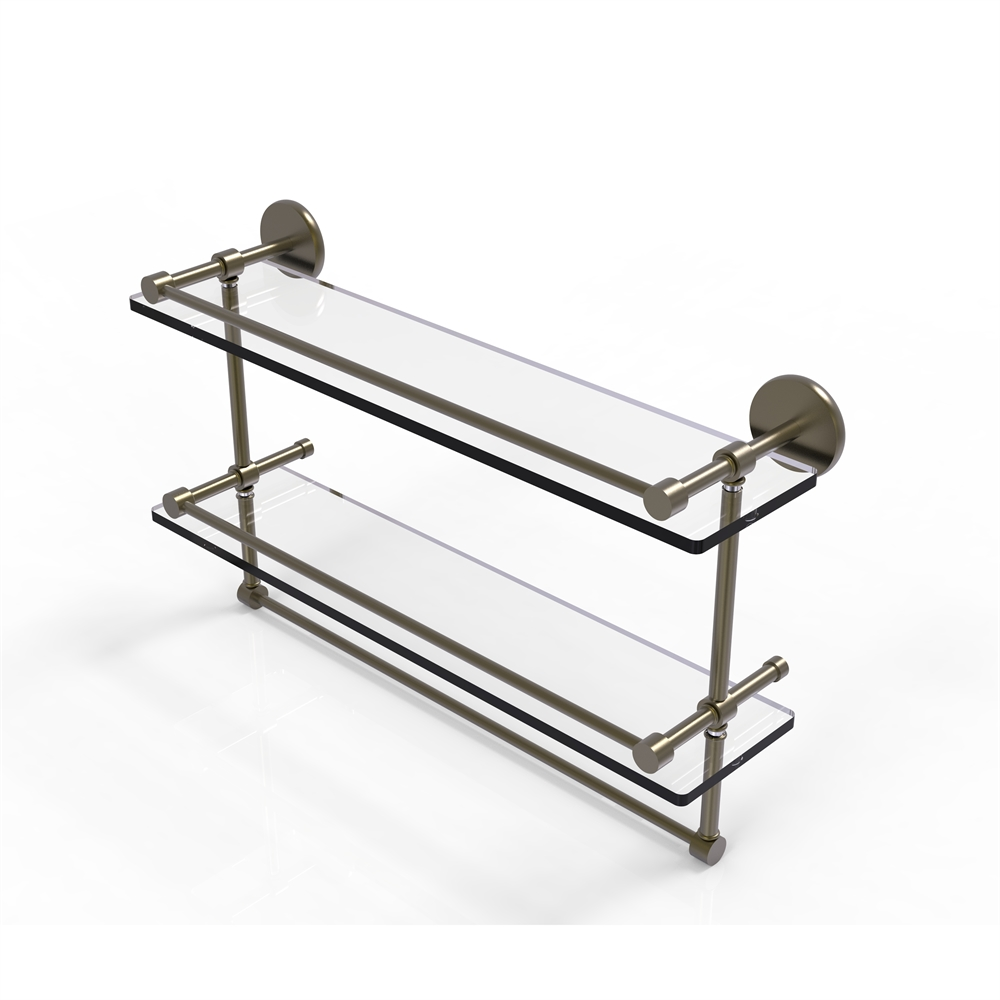 P1000-2TB/22-GAL-ABR 22 Inch Gallery Double Glass Shelf with Towel ...