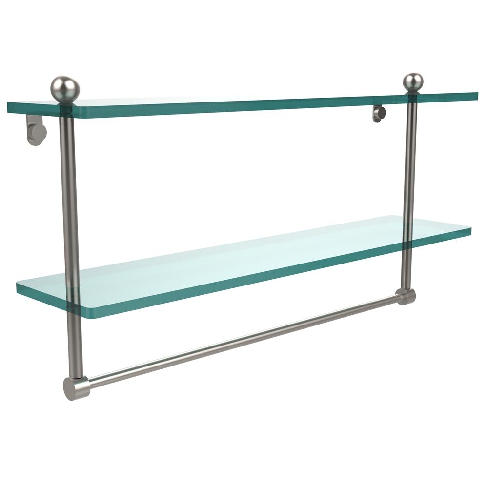 Pr 2 22tb Sn 22 Inch Two Tiered Glass Shelf With