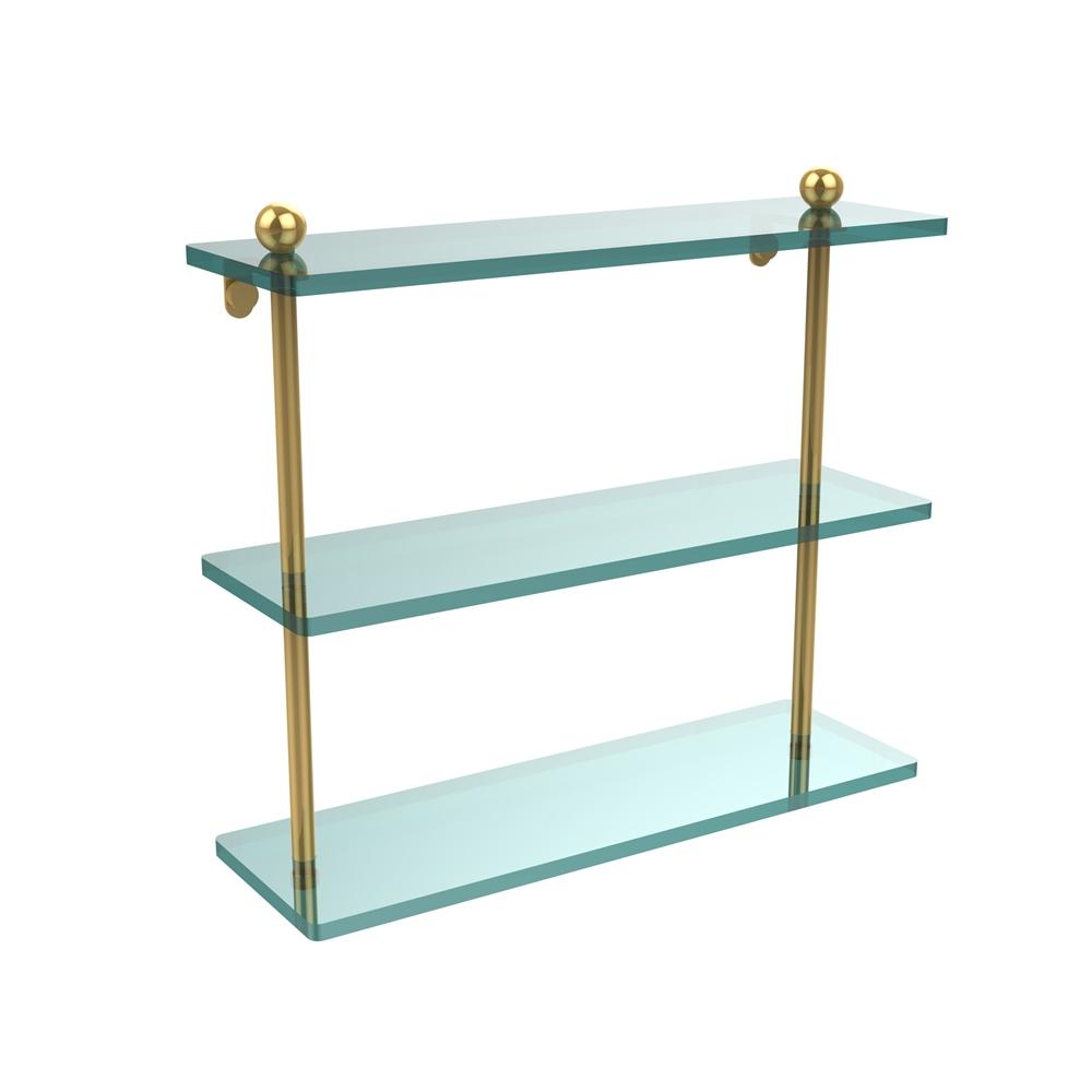 PR-5/16-PB 16 Inch Triple Tiered Glass Shelf, Polished Brass