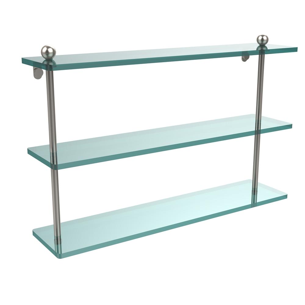Pr 5 22 Sn 22 Inch Triple Tiered Glass Shelf Satin Nickel