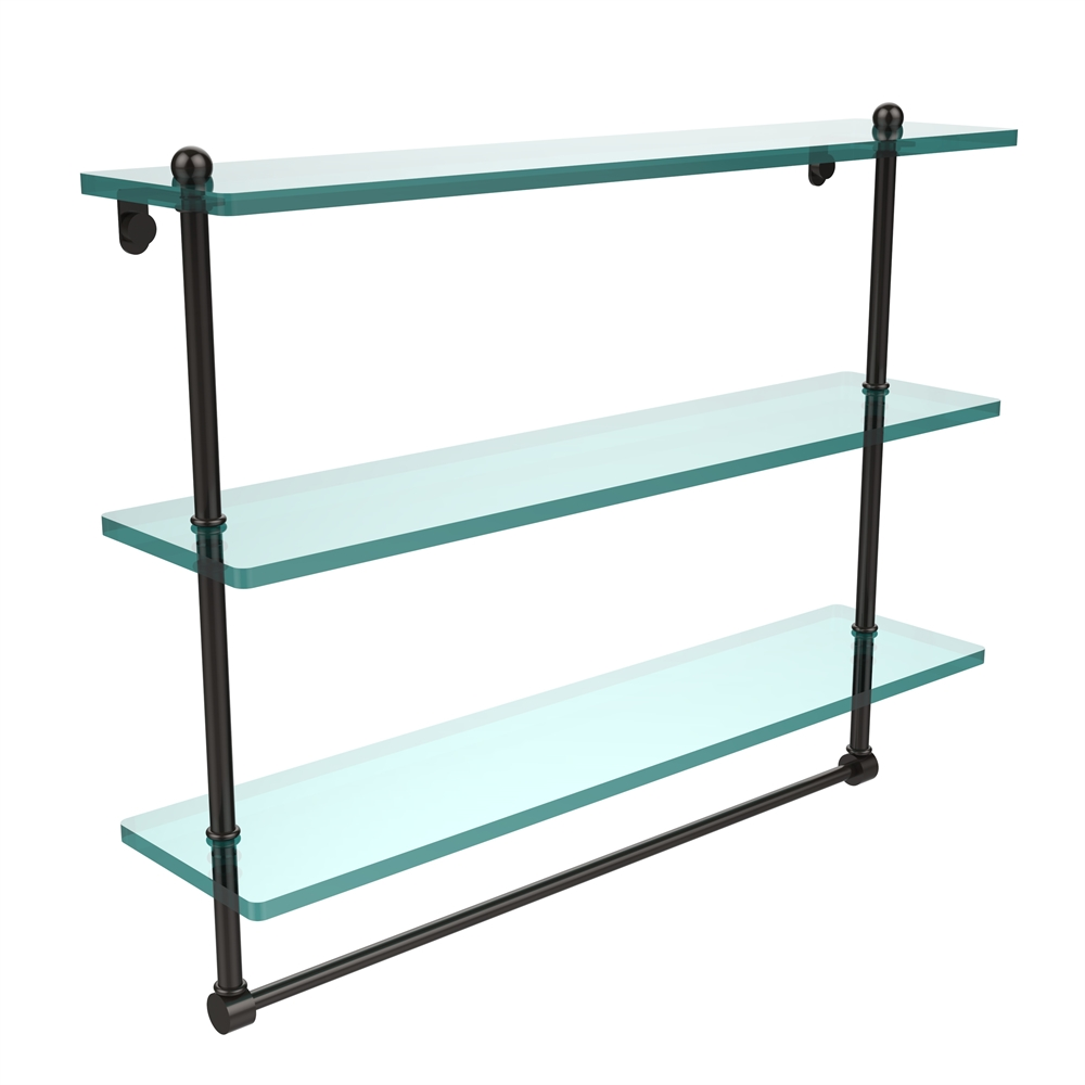 PR-5/22TB-ORB 22 Inch Triple Tiered Glass Shelf with Integrated ...