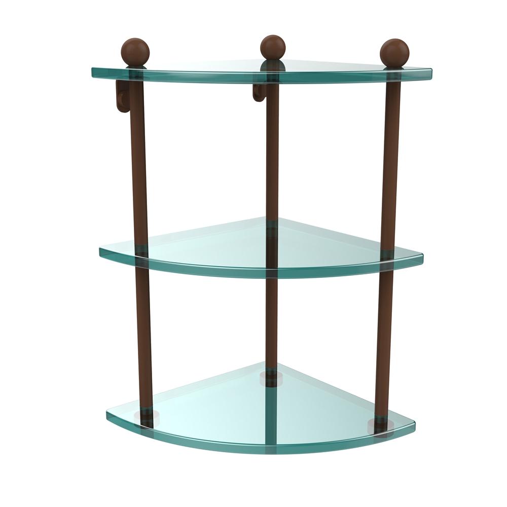 PR-6-ABZ Three Tier Corner Glass Shelf, Antique Bronze