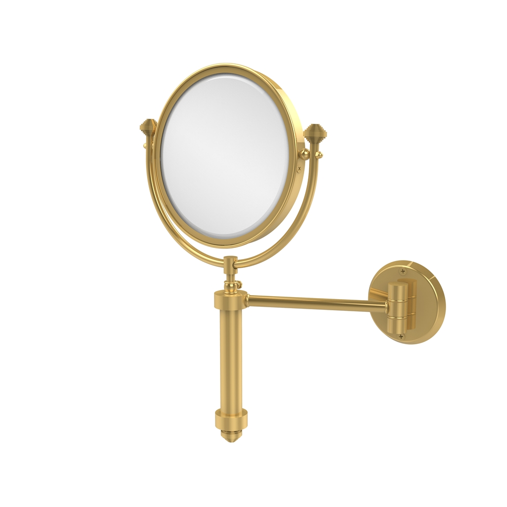 Sb 4 3x Unl Southbeach Collection Wall Mounted Make Up Mirror 8 Inch Diameter With Magnification Unlacquered Brass