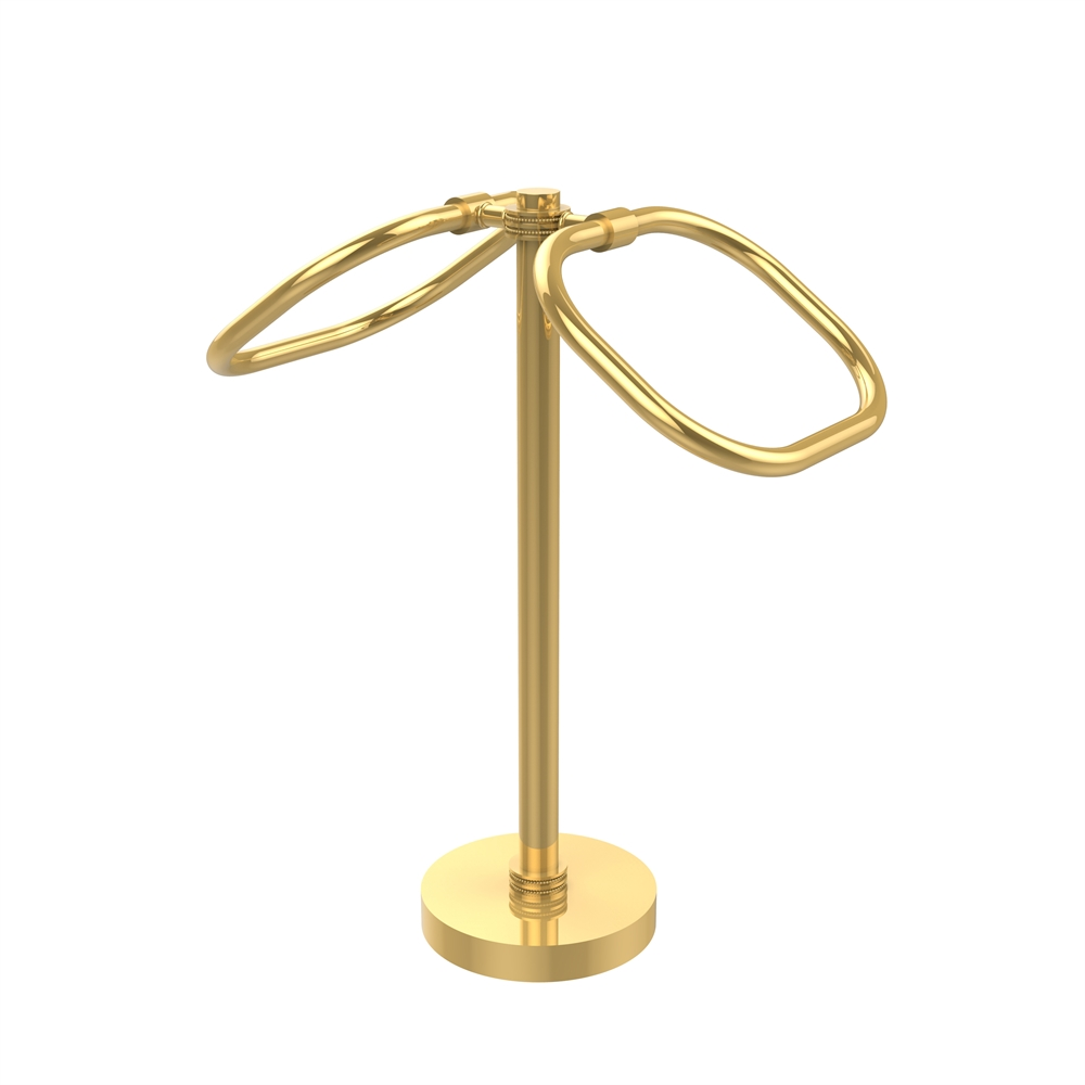Tb 20d Unl Two Ring Oval Guest Towel Holder Unlacquered Brass