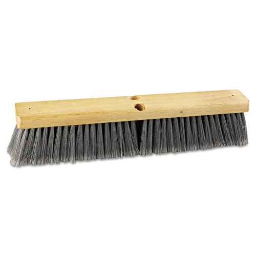 "Floor Brush Head, 18"" Wide, Flagged Polypropylene Bristles. Picture 1"