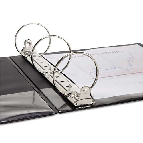 """Speedy Spine Heavy-Duty Time Saving Round Ring View Binder, 3 Rings, 3"""" Capacity, 11 x 8.5, Black. Picture 3"""