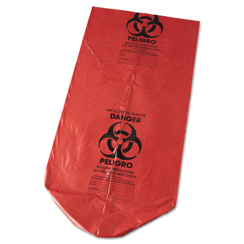 """Low-Density Commercial Can Liners, 45 gal, 1.3 mil, 40"""" x 46"""", Red, 100/Carton. Picture 2"""