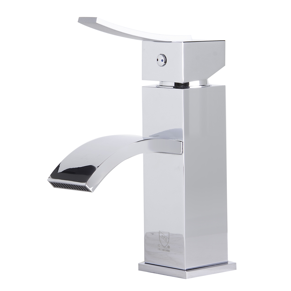 AB1258 Polished Chrome Square Body Curved Spout Single Lever ...