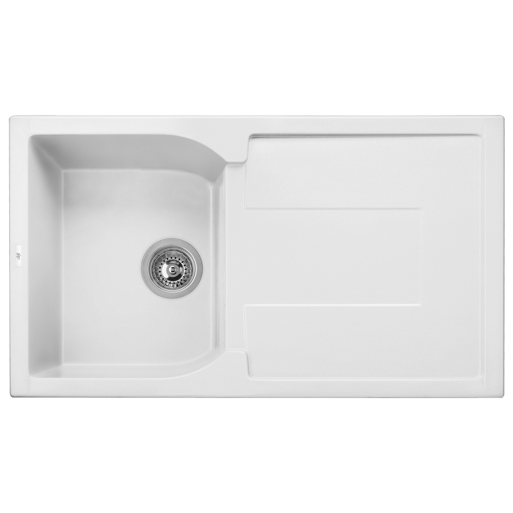 White 34 Quot Single Bowl Granite Composite Kitchen Sink With