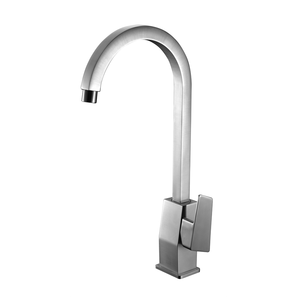 AB3470-BN Brushed Nickel Gooseneck Single Hole Bathroom Faucet