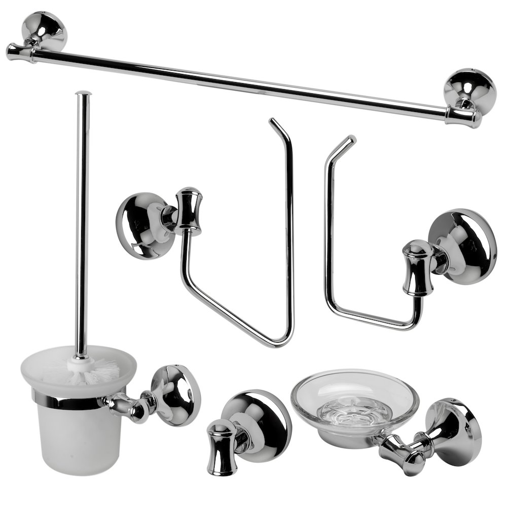 Alfi brand ab9521 pc polished chrome 6 piece matching for Matching bathroom accessories sets