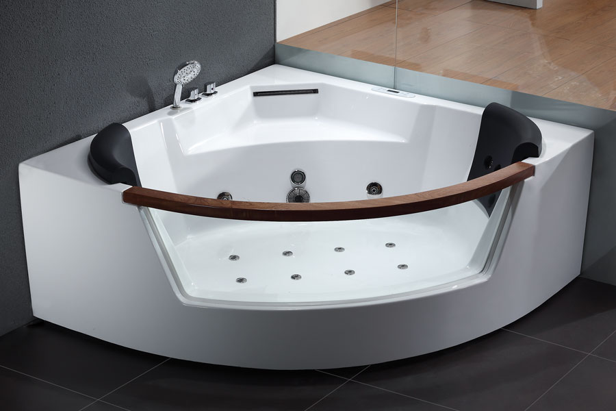 AM197 5\' Rounded Clear Modern Corner Whirlpool Bath Tub with Fixtures