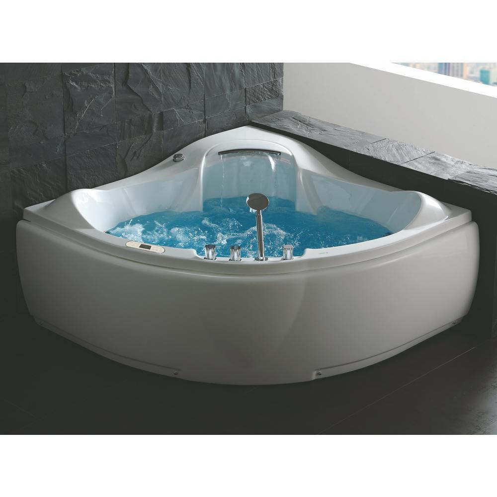 5 ft Corner Acrylic White Waterfall Whirlpool Bathtub for Two