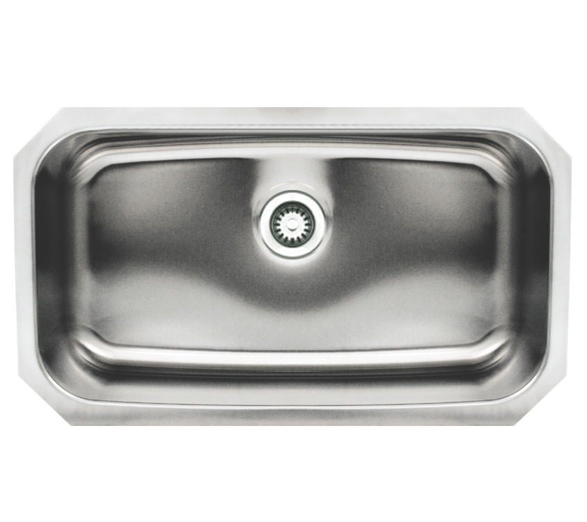 Noahu0027s Collection Brushed Stainless Steel Rectangular Single Bowl  Undermount Sink