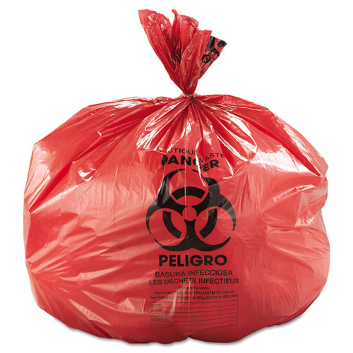 """Low-Density Commercial Can Liners, 45 gal, 1.3 mil, 40"""" x 46"""", Red, 100/Carton. Picture 3"""