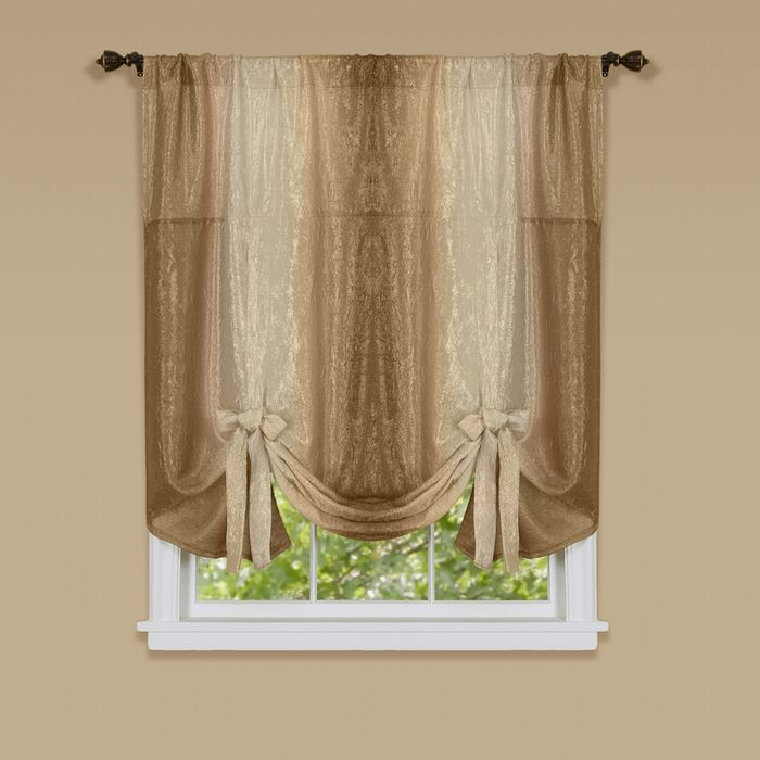 ombre window curtain tie up shade 50x63 sandstone