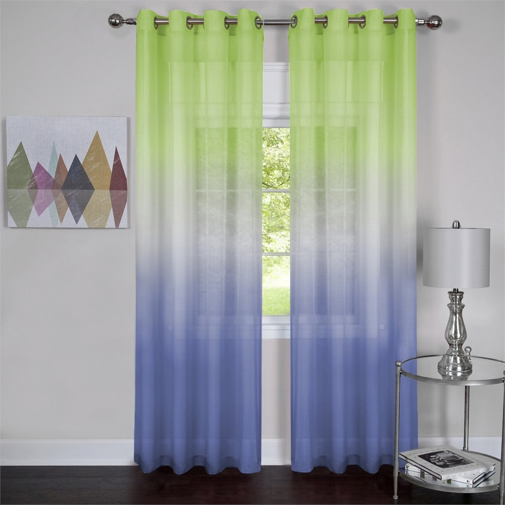 Achim Rainbow - Single Grommet Window Curtain Panel - 52x63 Green