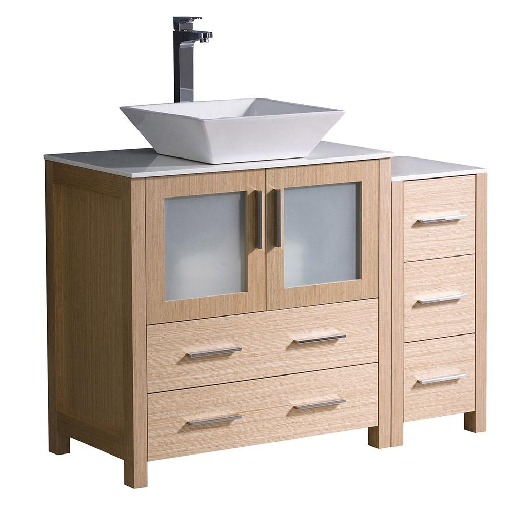 "Torino 42"" Light Oak Modern Bathroom Cabinets W/ Tops & Vessel Sink"