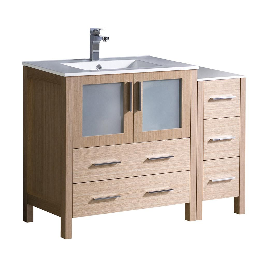 "Torino 42"" Light Oak Modern Bathroom Cabinets w ..."