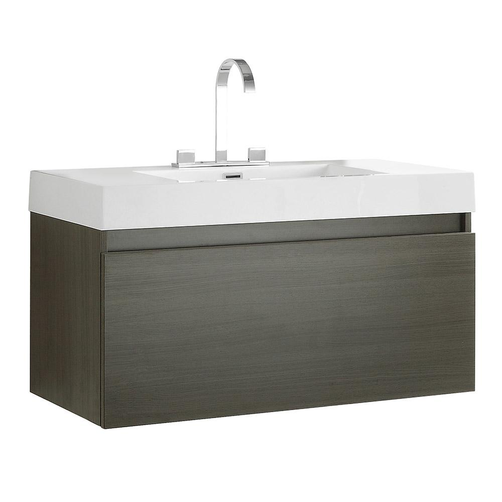 Mezzo Gray Oak Modern Bathroom Cabinet w/ Integrated Sink