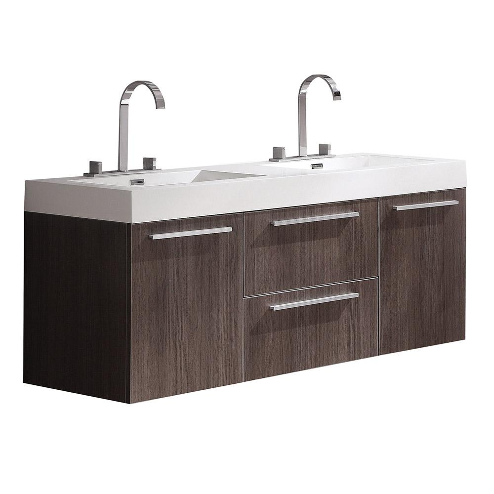 Opulento Gray Oak Modern Double Sink Bathroom Cabinet W