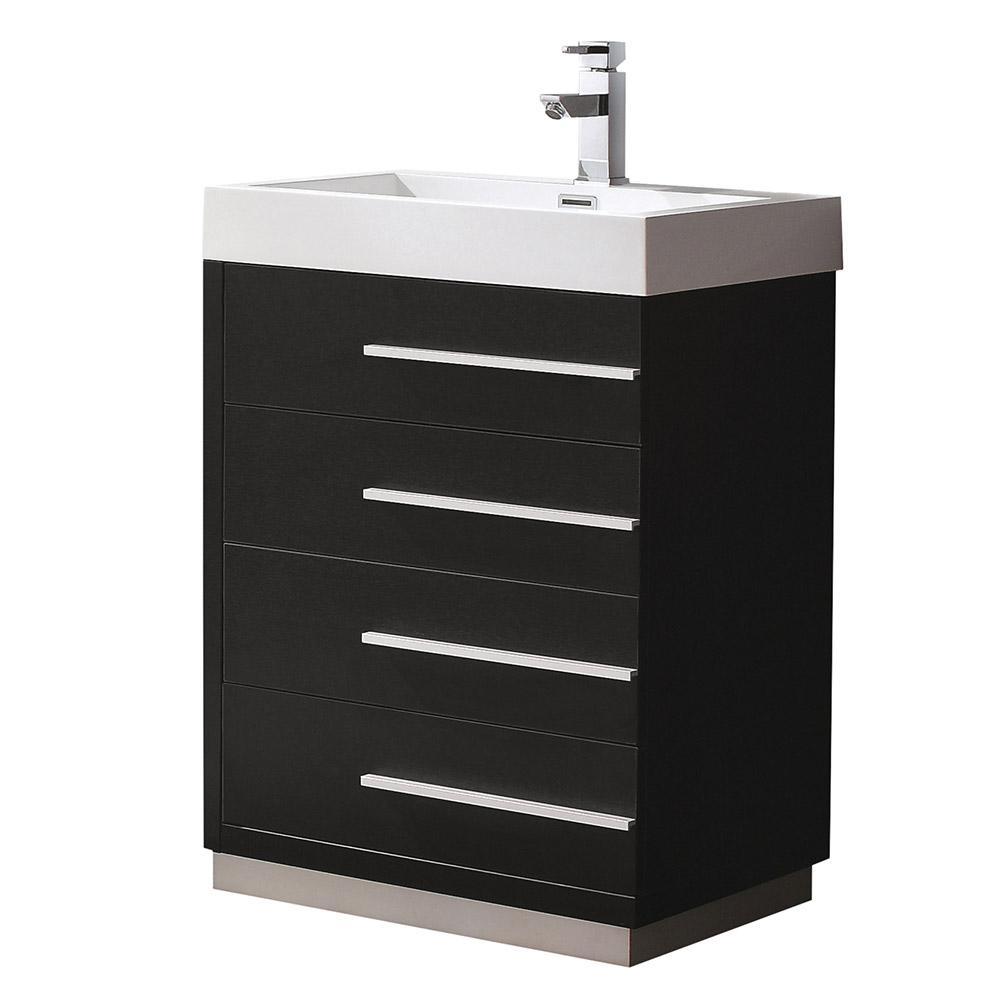 Livello 24 Black Modern Bathroom Cabinet W Integrated Sink