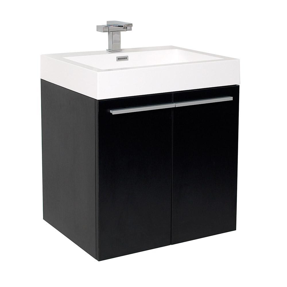 Alto black modern bathroom cabinet w integrated sink for Black bathroom cabinet