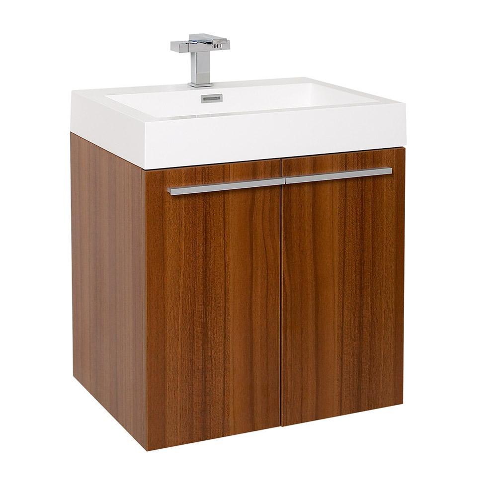 Alto teak modern bathroom cabinet w integrated sink for Modern bathroom sink cabinets