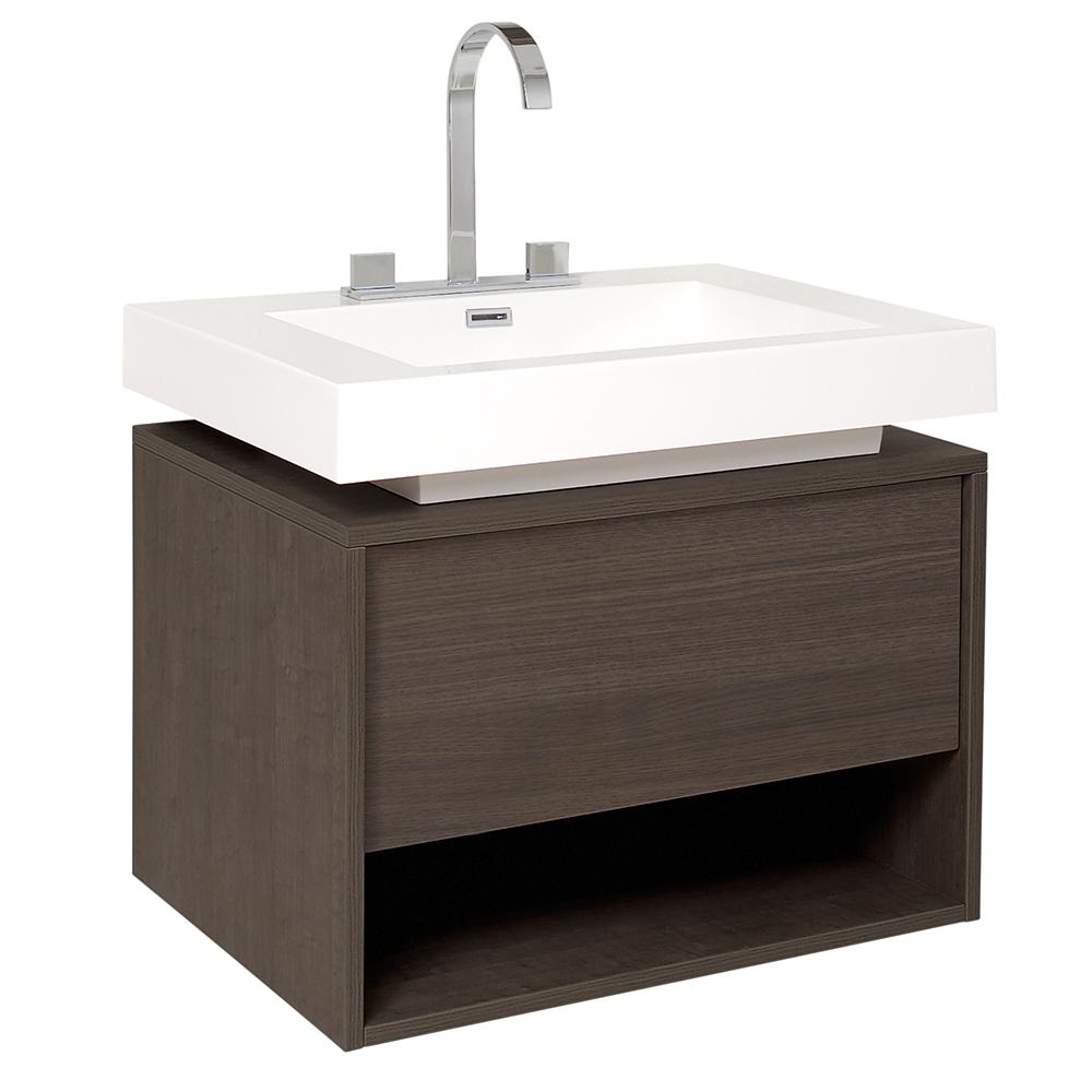 white bathroom sink cabinet potenza gray oak modern bathroom cabinet w vessel sink 21443