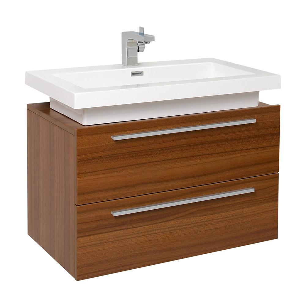 Medio Teak Modern Bathroom Cabinet W Vessel Sink