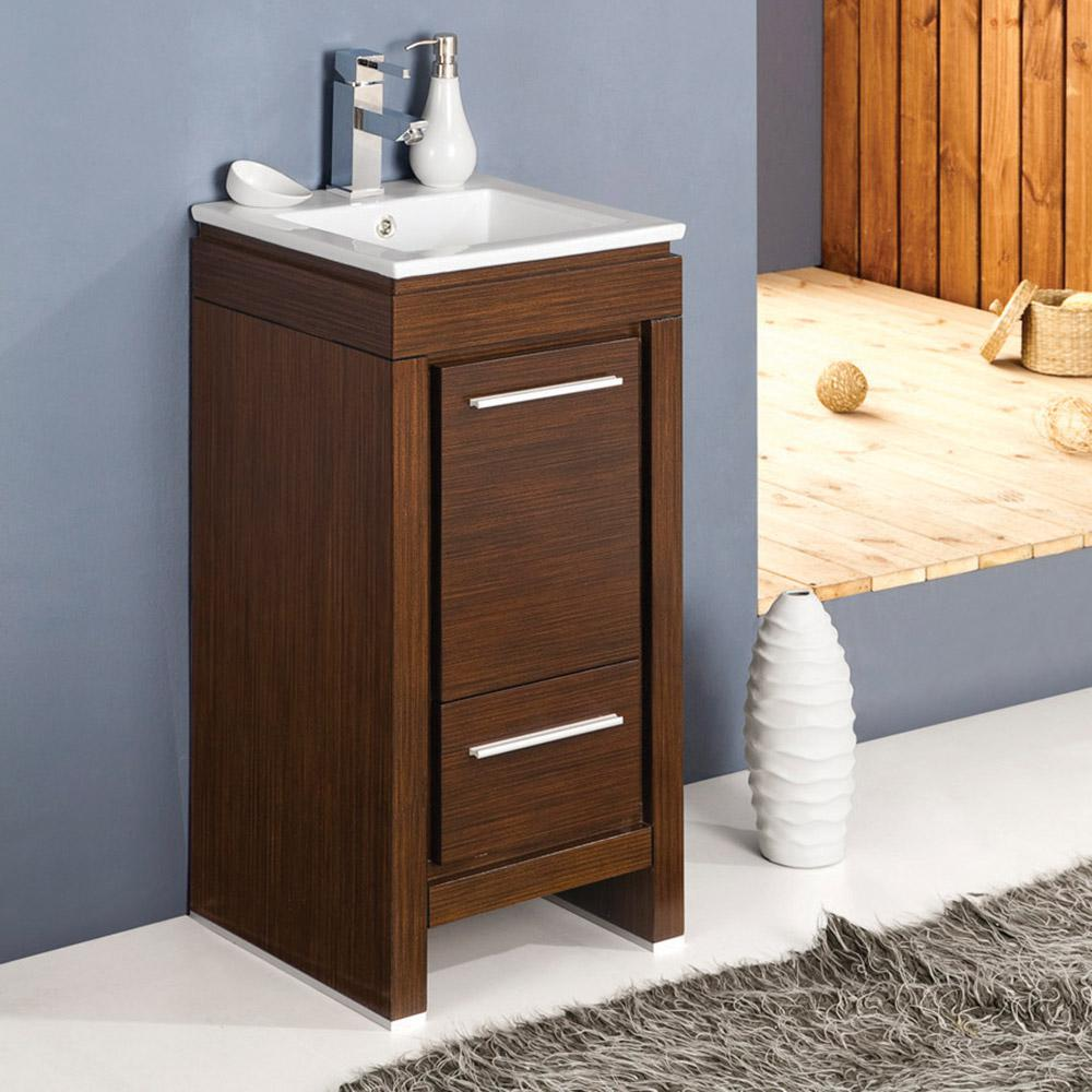 wenge bathroom cabinet allier 16 quot wenge brown modern bathroom cabinet w sink 15034