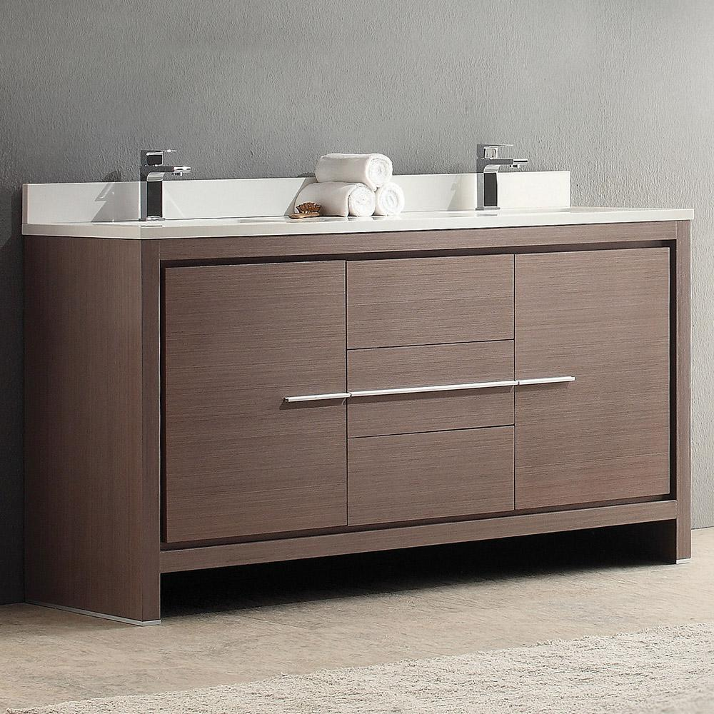 Allier 60 Gray Oak Modern Double Sink Bathroom Cabinet W Top Sinks