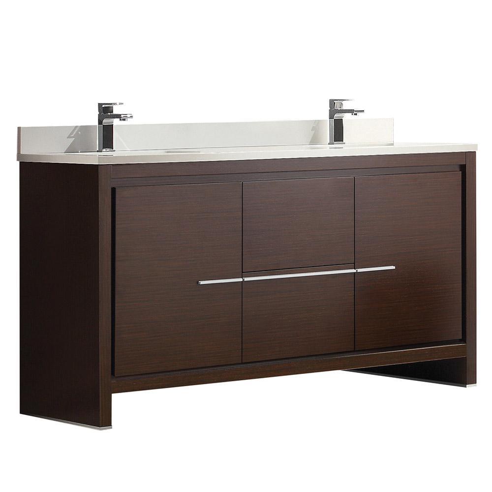 "Allier 60"" Wenge Brown Modern Double Sink Bathroom Cabinet W/ Top & Sinks"