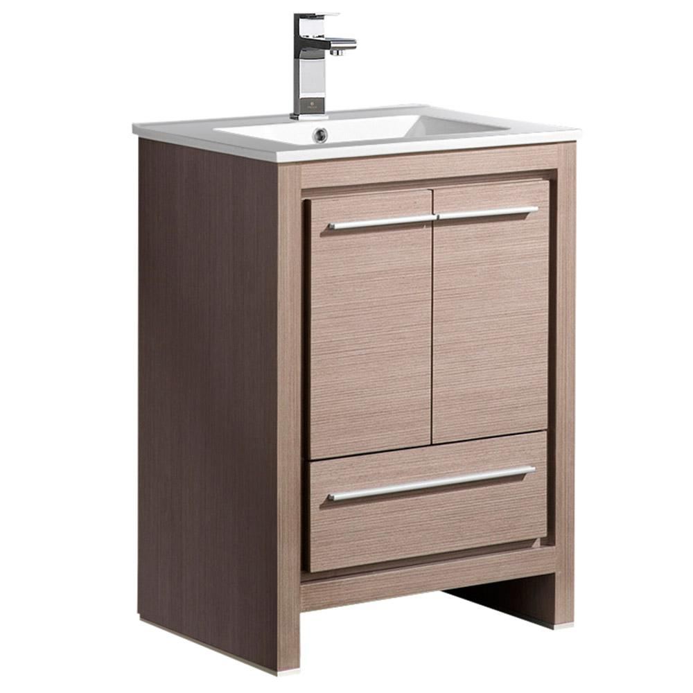 Allier 24 gray oak modern bathroom cabinet w sink Bathroom cabinets gray