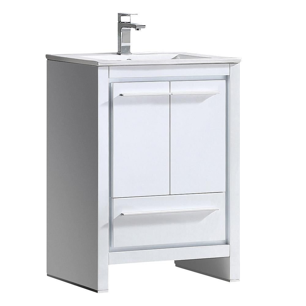 Allier 24 white modern bathroom cabinet w sink for White bathroom sink cabinet